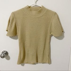 Vtg Y2K Simpatico Short Sleeve Ribbed Knit Mock Neck Sweater in Tan, size small